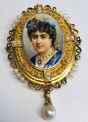 Antique 19th Century Swiss Enamel Portrait In 14k Gold With Pearls Pin Pendant