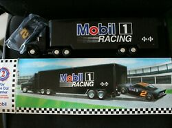 Vintage 1994 Mobil 1 Racing Toy Race Car Carrier Truck Transporter With Car