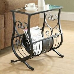 Black Metal Tempered Glass Top Accent Table Magazine Rack End Bed Side Scroll