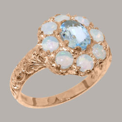 Solid 18k Rose Gold Natural Aquamarine And Opal Womens Cluster Ring-sizes 4 To 12