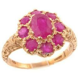 Solid 18k Rose Gold Natural Ruby Womens Cluster Ring - Sizes 4 To 12