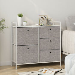 Faux Linen Home Dresser Tower Furniture Storage Organizer Cabinet W 5 Drawers