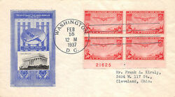 C22 50c China Clipper Harry Ioor Lincoln Memorial Block Of 4 W/ Plate [396000]