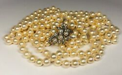 Vintage Double Strand Pearl Necklace 14k White Gold With 13 Diamond Clasp 36