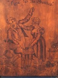 Pyrography Suffragette Mission Style Carved Wood Panel Folk Art 1900-1910
