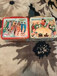 Lot Of 2 Vintage Disney Mickey Mouse Club Lunch Boxes 1963 1977 Alladdin Tin