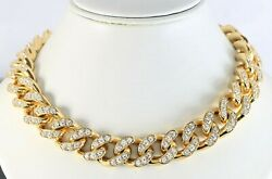 Bottega Veneta 18K Gold Plated Cubic Zirconia Cuban Link Chain Choker Necklace