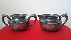 Antique J.b. And Co. Silverplate Etched Creamer And Sugar