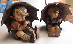 Vintage Hummel Goebel Figurines Boy And Girl With Umbrellas Rare