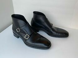 Tom Ford Sutherland Monk Strap Boots Black Leather Size Us 11 Cap Toe