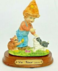 Da Vinci Collection Figurine Boy / Child Playing With Dog And Cat