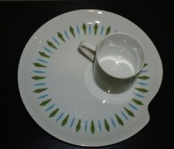 10 Vintage Mcm Mikasa Sophisticate Snack Plates And Cup Set-blue And Green
