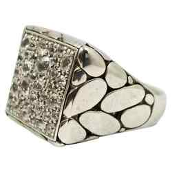 Very Fine Crystal Clear Cubic Zirconias With Solid 925 Silver Square Men's Ring