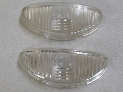 Pair Studebaker Parking Light Lens Late 1952 / Lens Back Is Curved See Pics Nos