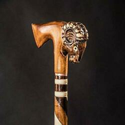Aries Walking Stick For Men Marvelous Ram Wooden Cane Carved And Handmade