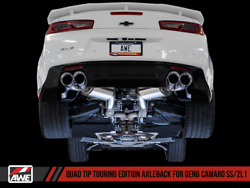 Awe Tuning Touring Axle-back Exhaust W/ Quad Chrome Tips For 16-20 Camaro Ss