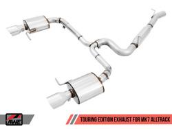 Awe Tuning Touring Exhaust W/ Chrome Tips For 17-19 Vw Golf Alltrack 4motion