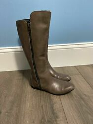 Born Leather Pruitt Riding Boots Gray Size 6.5 Tall Flats Career Knee High