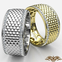 Fish Scale Patterned Diamond Eternity Menand039s Wedding Pave Set Band Gold Ring 1ct.