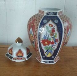 Porcelain Ceramic Ginger Vase Jar With Lid Made In Japan With Flowers And Birds.