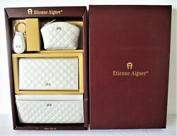 Etienne Aigner Quilted Leather Wallet Set Silver Checkbook Change Purse 4 Pc NEW