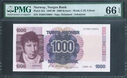 Norway 1000 Kroner P45a 1989-90 Pmg 66 Epq Gem Uncirculated. Beautiful Colours