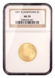 2007-w 5 Ngc Ms70 Jamestown Mint State Gold Commemorative Coin