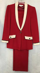 St John Collection 2 Pc Pants Suit Red White And Black Trim Pocket Flaps Size 8