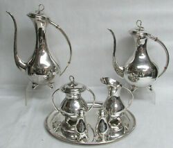 Mid Century Eugen Ferner Germany Sterling Silver Coffee And Tea Tray Salt And Pepper