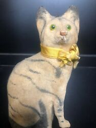Antique Cat Pull String Toy Glass Eyes Victorian Early Squeaks