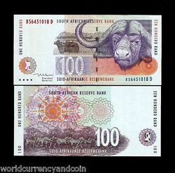 South Africa 100 Rand P126 B 1999 Cape Buffalo Zebra Unc Currency Bank Note
