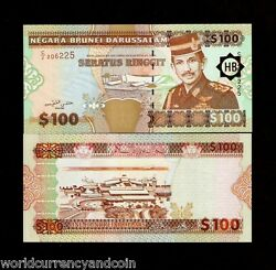 Brunei 100 Ringgit P-26 1996 Airplane Sultan Unc World Currency Money Bank Note