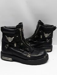 Harley Davidson Mens Brake Black Leather Motorcycle Boots Double Zipper Sz 9