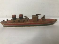 Wood Toy Boat Battleship Gun Boat With Wood Guns 1940andrsquos
