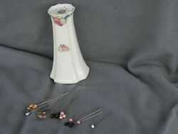 Vintage Hat Pins And German Hair Pin Holder Lot Of 17