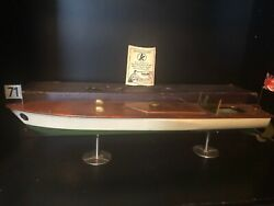 Antique 1928 Kellner Clockwork Wind Up Wooden Toy Speed Boat With Box Stand Exc