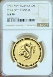 2001 Australia Gold 100 Lunar Year Of The Snake Series 1 Ngc Ms 70 Perfection