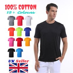 Menand039s Plain Cotton T-shirt Short Sleeve Tee Top 100 Cotton | Best Selling In Uk