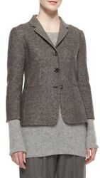 The Row Double-faced Tweed Jacket, Charcoal Melange Size 2 4,090. Nwt