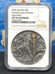 Ngc 70 Niue Island 2018 Poseidon God Of Oceans 2 Silver Coin Gold Plated