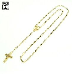 Gold Plated 4mm Bead Guadalupe amp; Jesus Cross 25quot; Rosary Necklace HR 700 G
