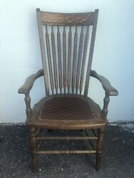 Antique Tiger Oak Arm Chair Desk Chair W/tooled Leather Seat 44andrdquo X 24andrdquo X 19andrdquo