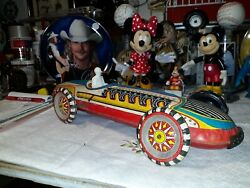 Louis Marx Rare Vintage 16 Tin Litho Wind Up Indy Race Car With Key And Driver
