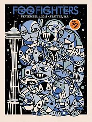 2018 Foo Fighters Seattle Space Needle Concert Poster 9/1 5/60 Ae Safeco S/n Mt