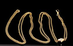 Vintage 14k Yellow Gold Ladies Watch Chain With Old European Cut Diamond