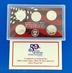 2006 S United States Mint 50 State Quarters 5 Coin Silver Proof Set Omp/coa