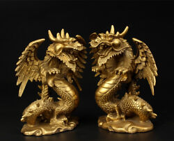 A Pair Chinese Brass Cooper-plating Pure Hand-carved Zodiac Dragon Statue