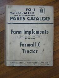 Farmall C Tractor Planter Plow Mower Disk Cultivator Implements Parts Catalog