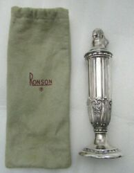 Vintage Silverplate Ronson Juno Tall Table Lighter In Original Silver Bag
