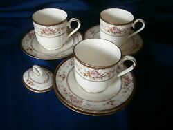 Noritake , Brently, 3 Cups And Saucers, 1 Saucer And Sugar Top